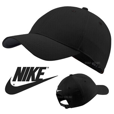 NEW Nike SWOOSH BASEBALL CAP *BLACK* PLAIN DRI FIT GOLF LEGACY FITTED PEAK HAT