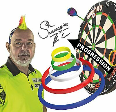 PETER WRIGHT SNAKEBITE OFFICIAL DARTS PRACTICE RINGS & Red Dragon Checkout Card