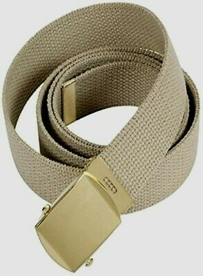 U.s Military Style Khaki Web Belt With Solid Brass Buckle U.s.a Made