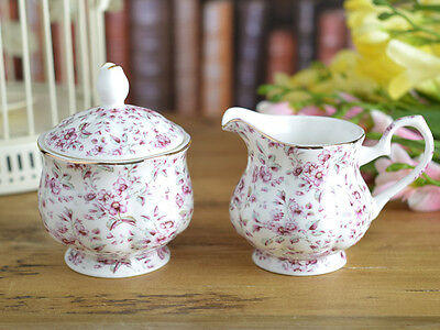Katie Alice White Ditsy Floral Shabby Chic Fine China Sugar Bowl & Creamer Jug