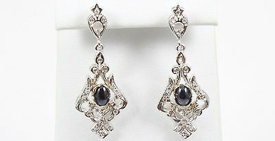 Estate Vintage & Antique 14K Solid  White Gold Diamond and Sapphire Earrings