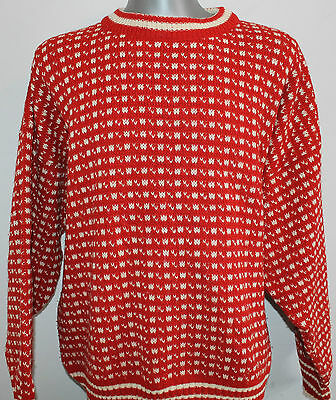Mens NORWOOL Norway 100% WOOL ChunkyDale Of Nordic Jumper Pullover Sweater XL