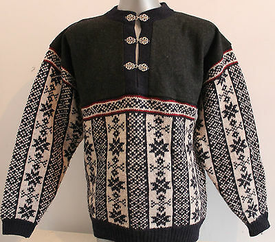 Mens BOUVIAC Norway 100% WOOL Chunky Dale Of Nordic Jumper Pullover Sweater S