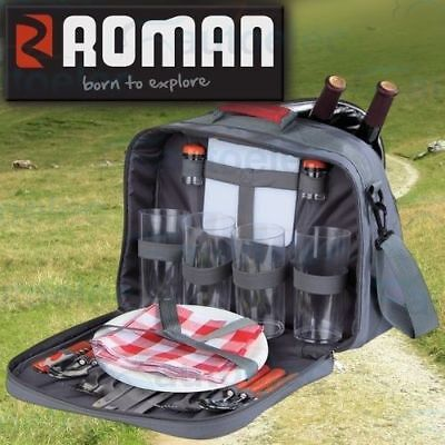 Roman 4 Person Picnic Set Outdoor Cooler Caravan Camping New With Cutlery