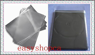 100 pcs Slim 7mm DVD CD Case Wrapper OPP Bags, Resealable Clear Plastic Sleeves