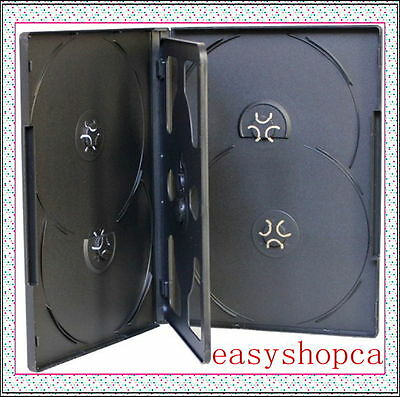 10 NEW Standard 14mm Black Multi holds 6 Disc with Tray DVD CD Cases