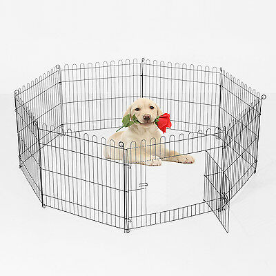 "PawHut 40"" Pet Cage Playpen Play Pen Puppy Portable Fence Indoor Patio Garden"