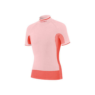 Castelli Iride Seamless Short Sleeve Mens Cycling Base Layer White Red L-XL