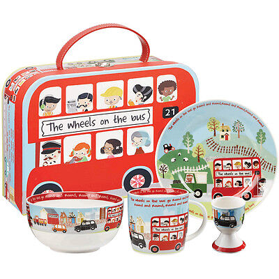 Little Rhymes The Wheels On The Bus 4 Piece Fine China Breakfast Set in Gift Box