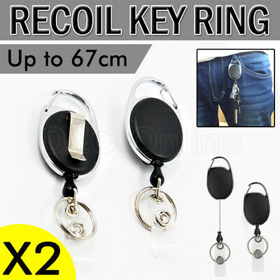 2 X Retractable Chain ID Holder Reel Recoil Key Ring Belt Clip Keyring Black NEW