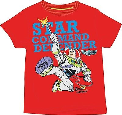 Buzz Lightyear Toy Story T-Shirt Top Red Size 18-24 Months 2-3 3-4 5-6 Years NEW