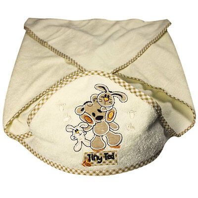 Snuggle Baby Tiny Ted Cuddle Robe Hooded Baby Towel, Cream