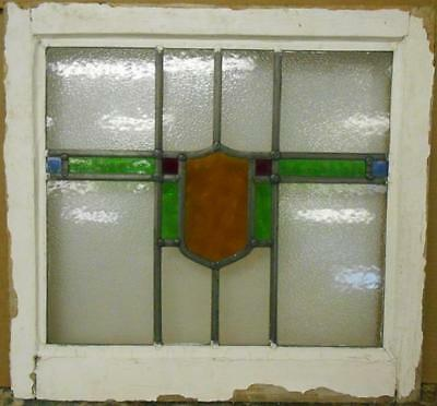 "OLD ENGLISH LEADED STAINED GLASS WINDOW Nice Geometric Band 21.5"" x 20.25"""