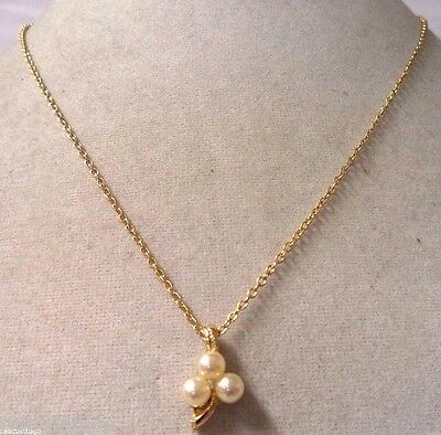 Stunning Vintage Estate Gold Tone Triple Faux Pearl Flower Necklace!!! Wga3243