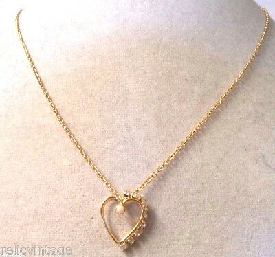 Stunning Vintage Estate Gold Tone Rhinestone Faux Pearl Heart Necklace!! Wga3269