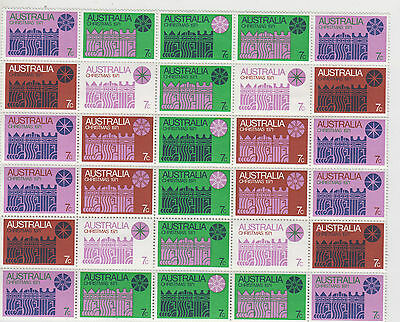 Christmas stamps Australia 1971 in block of 30 with pink colour visible at back