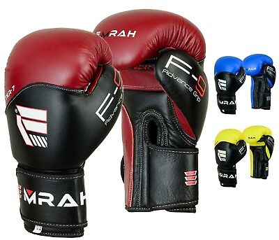 EMRAH Leather Boxing Gloves Fight Punch Bag UFC Muay Thai Grappling Kick MMA W7H