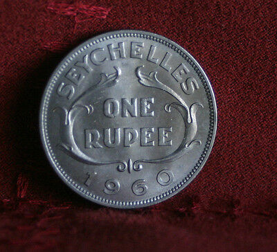 1960 Seychelles Rupee Unc Copper Nickel World Coin KM13 Rare Low Mintage Africa