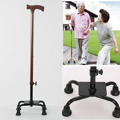 Aluminium Adjustable Quad Cane Walking Stick Aid Handy Grip 4 Legs Base Crutch