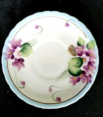 Nippon Hot Chocolate Hand Painted Violets SAUCERS ONLY Gold Trim   D2