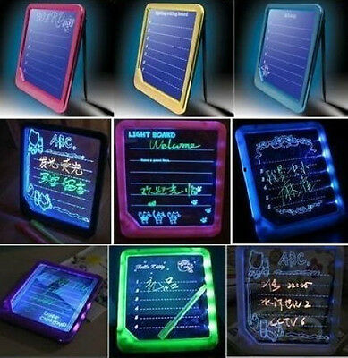 Surprise LED Fluorescent Note Message Lighted Sign Holder Erasable Writing Board