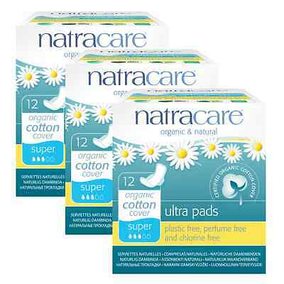 Triple Pack Natracare Organic Sanitary Towels, Ultra Pads, WINGED Liners, SUPER