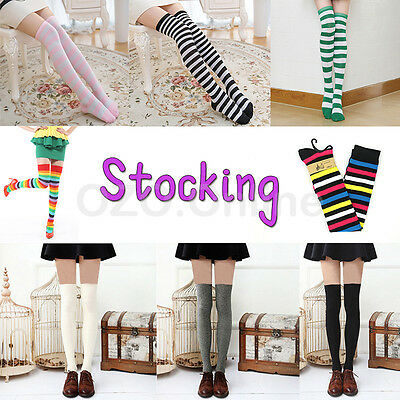 Women OVER THE KNEE SOCKS Plain Striped Thigh High Long Stripey Stocking Ladies