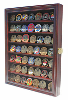 Bullion/Military Challenge Coin Display Case Cabinet Wall Rack, w/Door Coin56