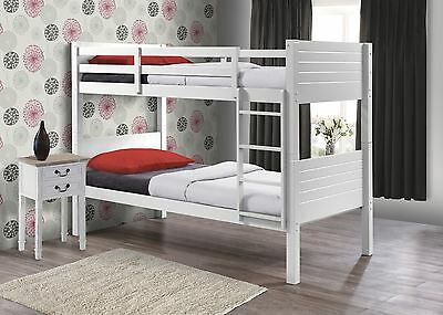 Birlea Dakota Wooden White Solid Wood Bunk Bed Frame 2X Single Beds 90CM 3FT