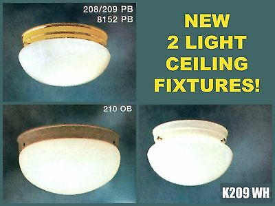 """NEW KICHLER 2-Light CEILING Fixture WHITE Polished Brass OLD BRONZE 9"""" 12"""" WOW!"""