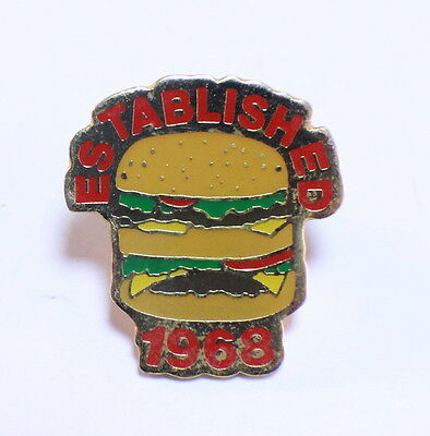 Mcdonalds Collector Hat Lapel Pin Hamburger Established 1968