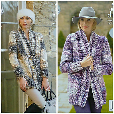 KNITTING PATTERN Ladies EASY KNIT Long Sleeve Edge2Edge Jacket Super Chunky 4290