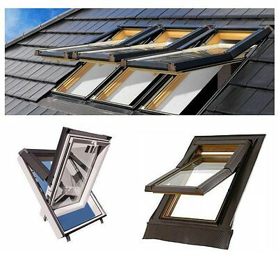 SKYFENSTER  Kunststoff Dachfenster  66x118 78x118 78x140 94x140 Skylight + ROLLO