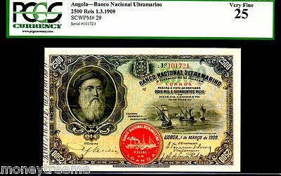 Angola P29 1.3.1909 2500 Reis Graded Pcgs 25!  Only 1 By All To Grading Co's!