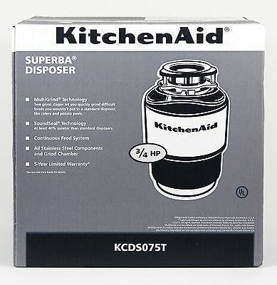 KitchenAid KCDS075T Garbage Disposal 3/4 HP 40 oz BRAND NEW FREE SHIPPING USA