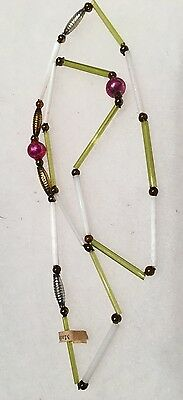 Vintage 1930s Mardi Gras Necklace Glass Pink White Chartreuse, Feather Garland