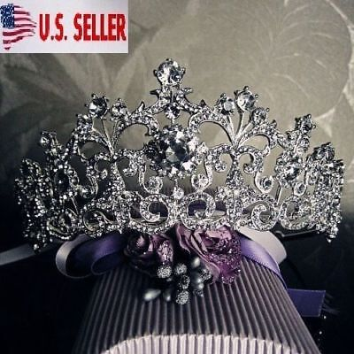 New Bridal Crystal Tiara Crowns Hair Jewelry Rhinestone Wedding Pageant Headband