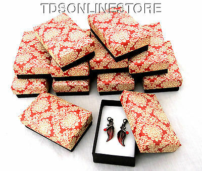 Red Floral Print Earring Boxes Package of 12