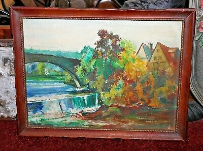 Antique Oil Painting On Board-Bridge Waterfall Village Houses-Signed-Small Size