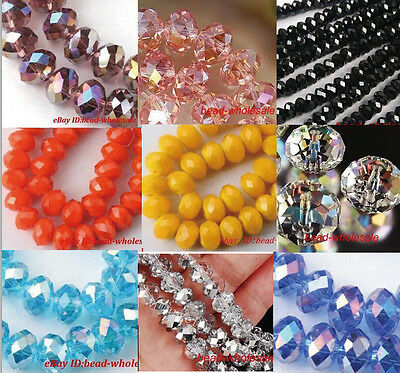 Wholesale 50pcs/80pcs Rondelle Crystal Glass Loose Spacer Beads Jewelry Making