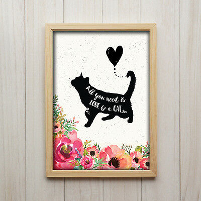 A4 CAT ART PRINT WALL DECOR Cat Lover Gift Watercolour art ALL YOU NEED IS LOVE