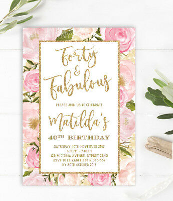 40th Birthday Invitation Forty Fabulous Party Invite Pink Gold Feminine Flower