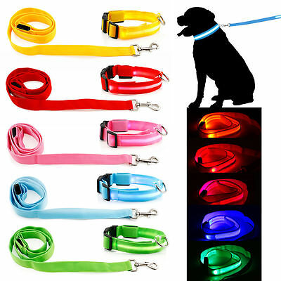 LED Collar Leash Pets DOG Lights UP Flash Night Safety Nylon Adjustable or SET