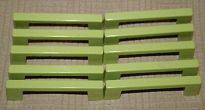 10 Green Plastic Drawer or Cabinet Handle Pulls. 70's? H-1