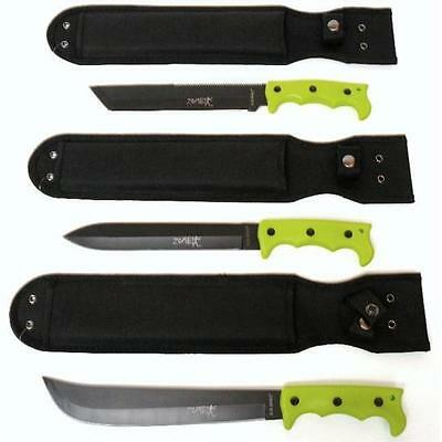 SALE Lot of 3 Zombie Survival Hunting Knives   Machetes   Free Shipping