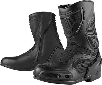 ICON OVERLORD Leather/Mesh CE certified Motorcycle Boots (Stealth/Black) 9.5