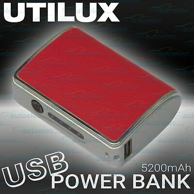 Utilux 12V Mini Battery Power Pack Charger Booster Supply 1.5Amp 5V Volt Usb Red