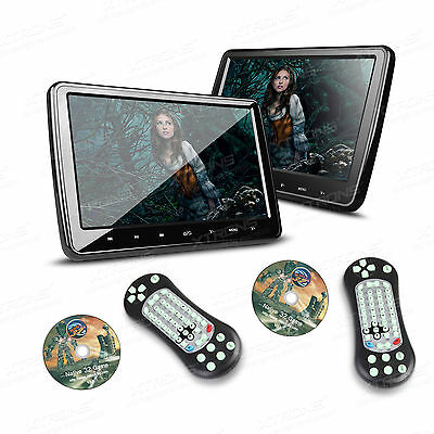 "2X HDMI 10"" HD LCD Pillow Back Car Active Headrest Monitor DVD Player Game Discs"