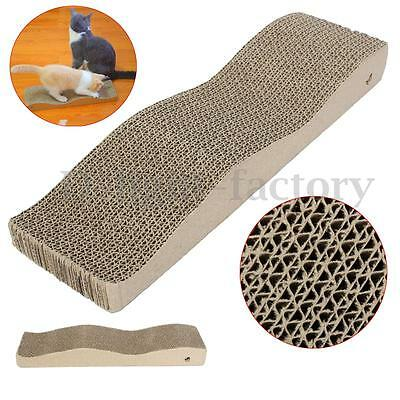 Waved Corrugated Cardboard Scratcher Scratch Board Pad Bed Cat Kitten Toy 43.5CM