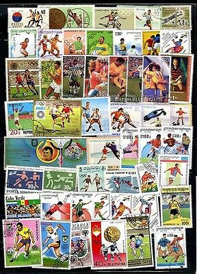 SOCCER/FOOTBALL collection x 50 beautiful  LARGE USED STAMPS